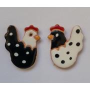 Aplique de cerâmica- Galo e galinha