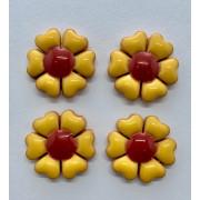 Aplique de cerâmica - Flor Amarela - miolo Vermelho 441i -4un