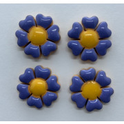 Aplique de cerâmica - Flor Hortência - miolo amarelo 441h -4un