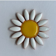 Aplique de cerâmica - Flor Branca 573 - Branca