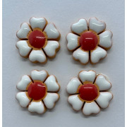 Aplique de cerâmica - Flor Branca - miolo vermelho 441 -4un