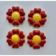 Aplique de cerâmica - Flor Vermelha - miolo amarelo 441c -4un
