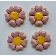 Aplique de cerâmica - Flor Rosa - miolo amarelo 441 -4un