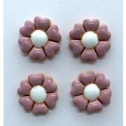 Aplique de cerâmica - Flor Rosa - miolo branco 441B -4un
