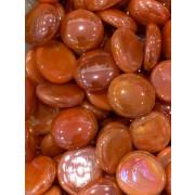 Gemas de vidro laranja perolizada -10un