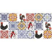 Kit de Azulejos Português com Galo de Barcelos- 18 Peças #GB102