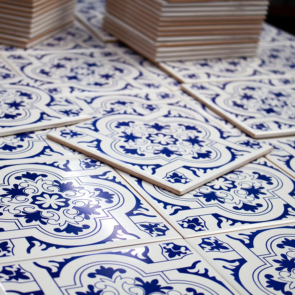 Painel de Azulejo Portugues Azul Home 12